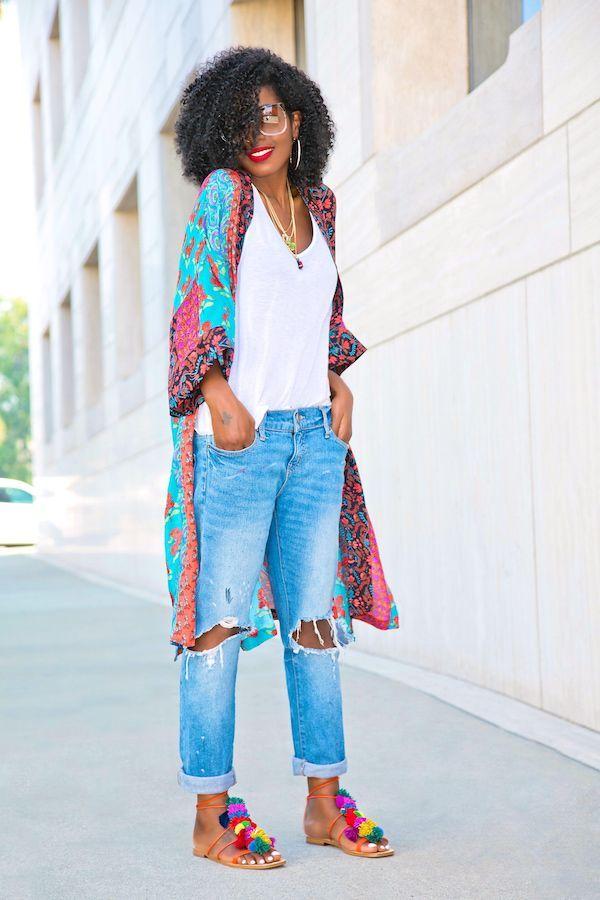 Style Pantry Printed Kimono Tank Distressed Boyfriend Jeans Black Fashion Bloggers Style Natural Hair Curl Fashion Trendy Outfits Boyfriend Jeans