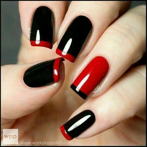 Esmaltado semipermanente rojo y negro.