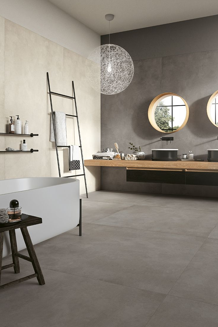 Reve by Mirage #miragetile #porcelaintiles #interiordesign #bathroom #bathroomdesign #resin