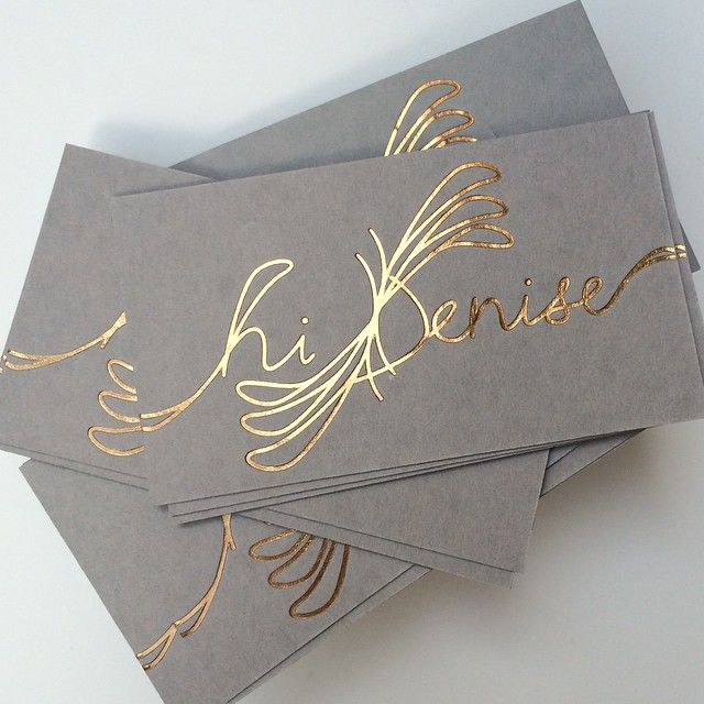rose/copper foil #business cards printed on gray cotton paper lilikoi-design.com