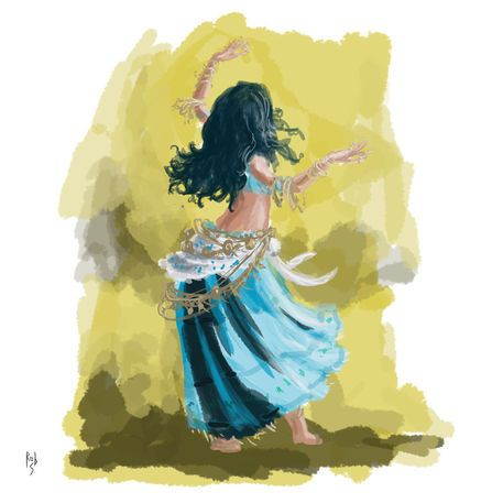 Gypsy Art | Blue Dancing Gypsy Digital Art art prints and posters by Rob ...