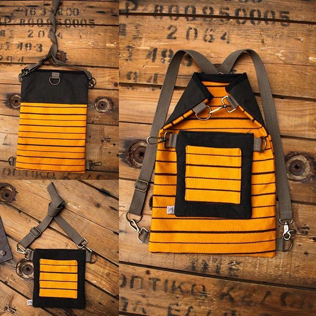 """Handmade yellow striped and brown bag made from canvas with a detachable part that gives the opportunity to wear it in 4 ways, as a backpack, as a shoulder bag -both or separated- and as a waist bag, by """"Eating the Goober"""""""