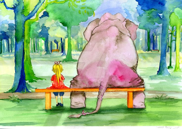 Elephant and zosia - watercolour illustration by art-ori.deviantart.com on @DeviantArt