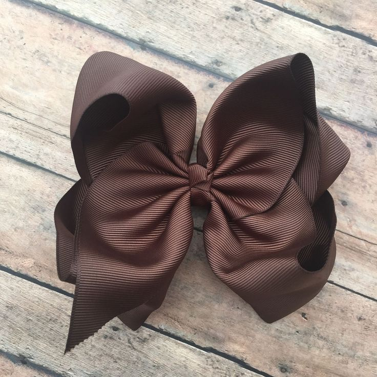 Brown Hair Bow - Big Bow - 6in Hair Bow - Brown Bow - Basic Hair Bow - Boutique Hair Bow - Big Brown bow - Simple Hair Bow - Brown clip by BBgiftsandmore on Etsy