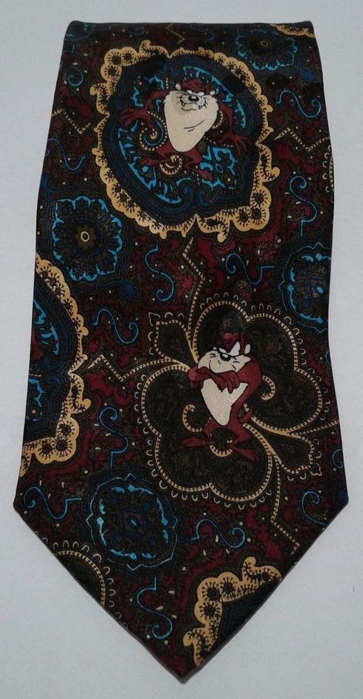Vintage 1994 Looney Tunes Mania Necktie Taz Paisley 100% Silk Novelty Tie #LooneyTunes #Tie