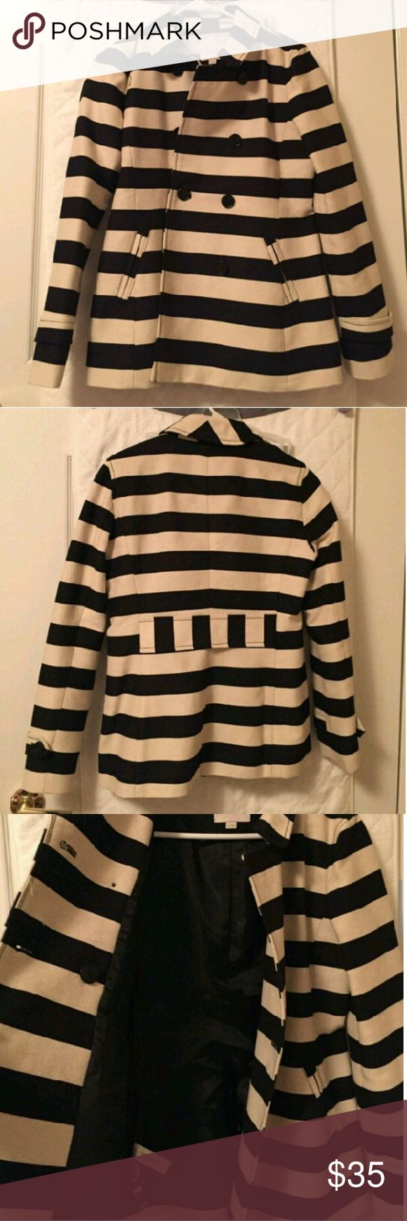 Ann Taylor Loft Striped Fall Peacoat XS Ann Taylor Loft Striped Fall Peacoat XS in very good condition. Thick, good quality material. Colors are navy and cream.  Good for fall or winter in the South, but not a thick wool coat for snowy winters. LOFT Jackets & Coats