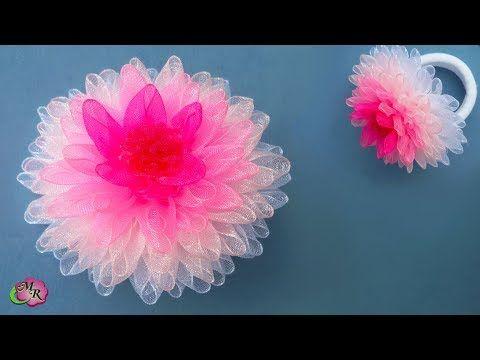 Пышный бант Георгин. Канзаши МК/Lush Bow Dahlia. DIY Kanzashi - YouTube
