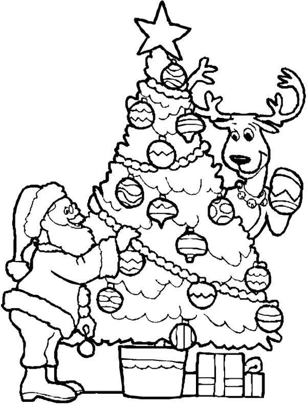 Christmas Tree And Santa Coloring Page