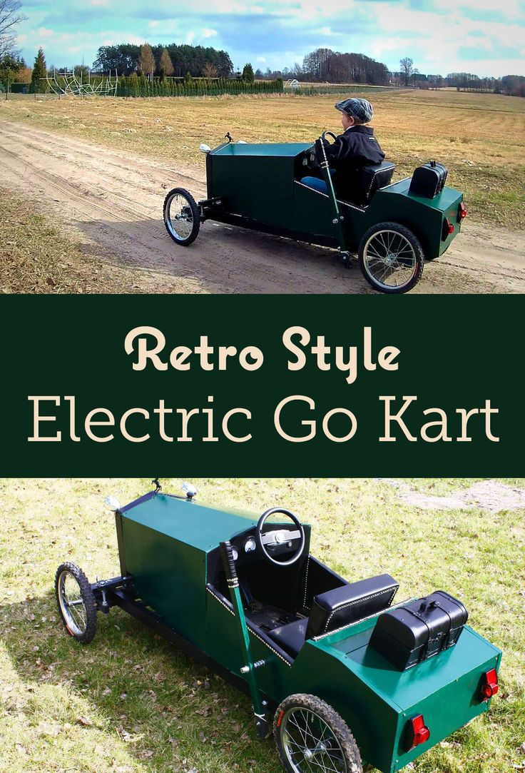 Electric go kart for kids which looks like retro cars from 20th. Made mainly from wood (no need for metalworks talents) and with ordinary tools like saw, drill etc.
