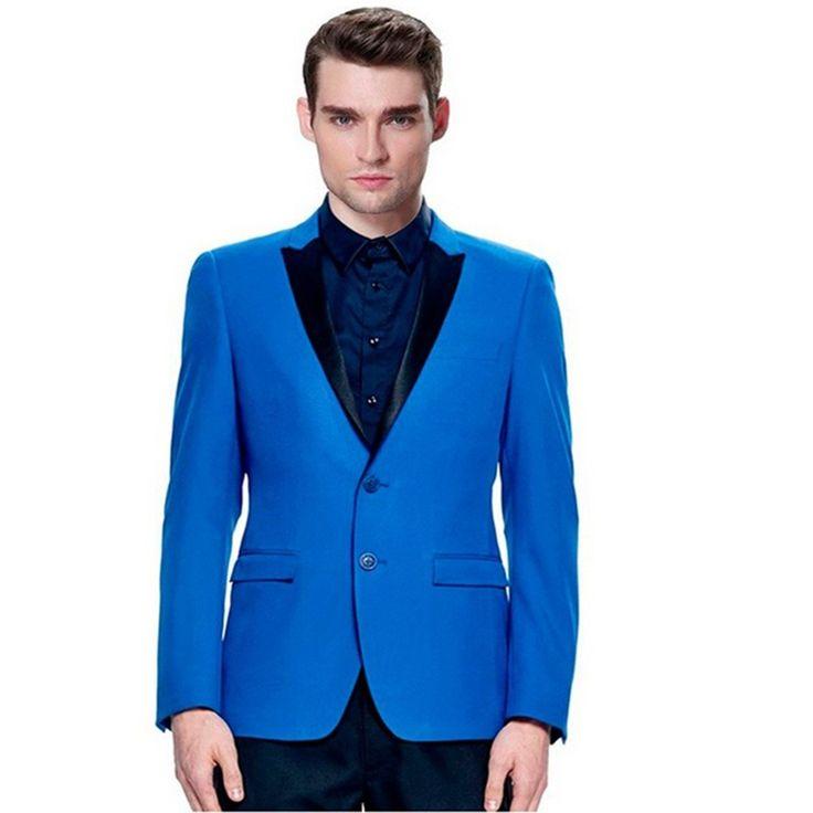 Fashion Wedding Tuxedos royal blue 2 Pieces Groom Mens Suits Groomsmen Slim Fit 2017 Man vestido de festa men Suit (Jacket+Pant)