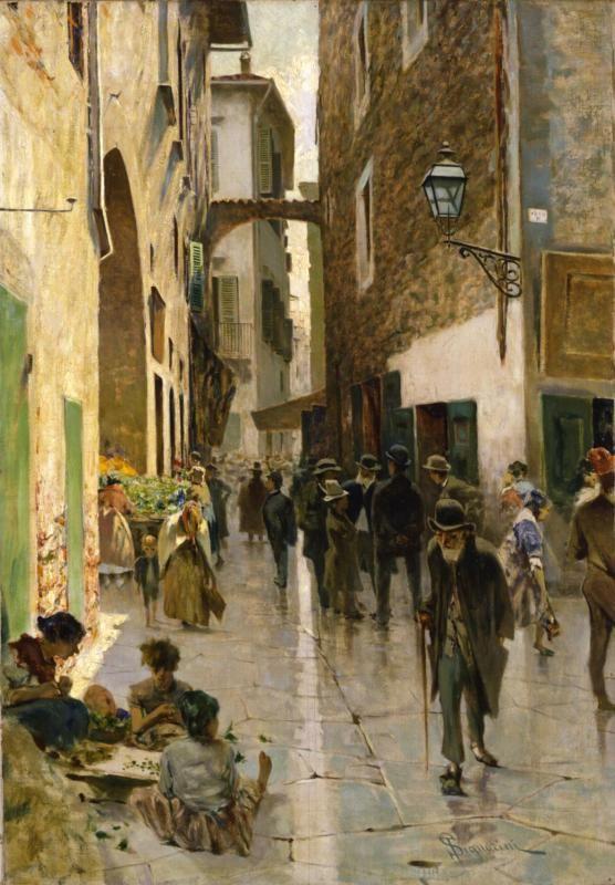 """Telemaco Signorini """"Il ghetto di Firenze"""" 1882 Olio su pannello"""