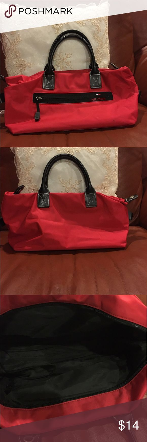 🍒1 DAY SALE Tommy Hilfiger mini tote Tommy Hilfiger mini tote in red! Small mark on bag, as shown in photo. Tommy Hilfiger Bags Mini Bags