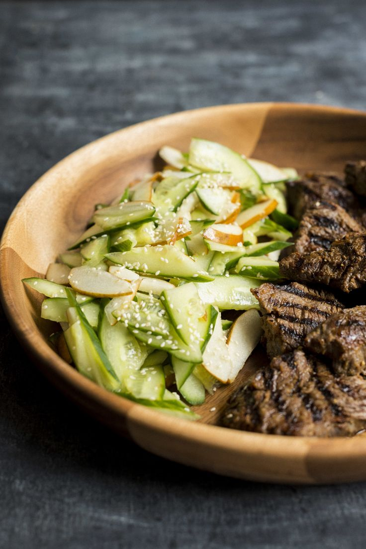 Ginger-Soy Steak with Pear-Cucumber Salad from Christopher Kimball's Milk Street