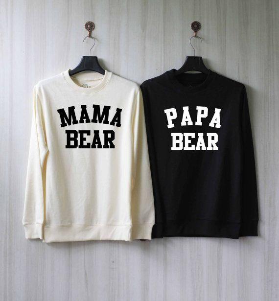 Papa Bear Mama Bear Sweatshirt Couples Shirts Sweater by SaBuy