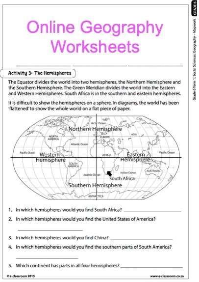Grade 6 geography worksheets south africa