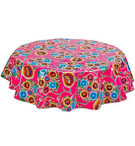 Slightly Imperfect Round Oilcloth Tablecloth in Bloom Pink