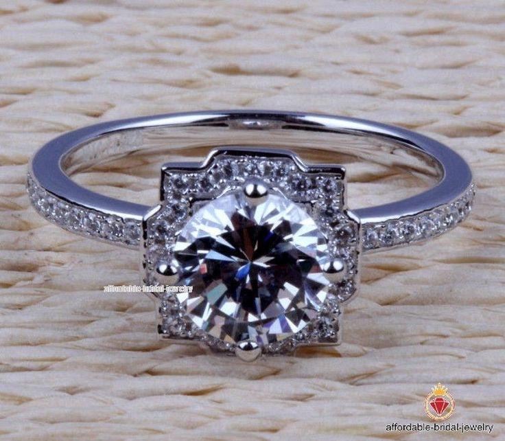 1.28 CT Diamond Engagement Wedding Ring Round Cut D/VVS1 In 14K White Gold #AffordableBridalJewelry