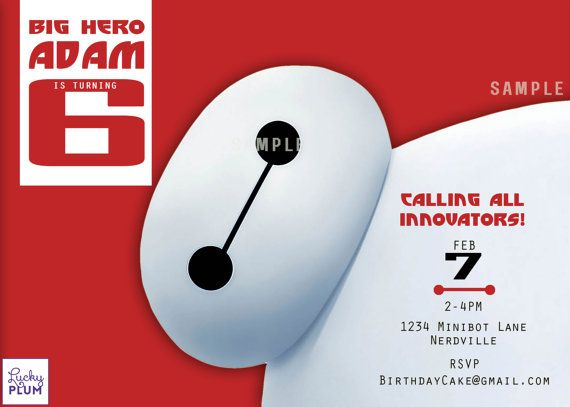 Big Hero 6 Birthday Invitation / Superhero Invite / Baymax ...