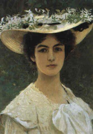 Vittorio Matteo Corcos (Italian, 1859–1933) Title:     Ritratto di giovanetta con cappello  Medium:     Oil on Canvas Size:     60 x 44 cm. (23.6 x 17.3 in.)