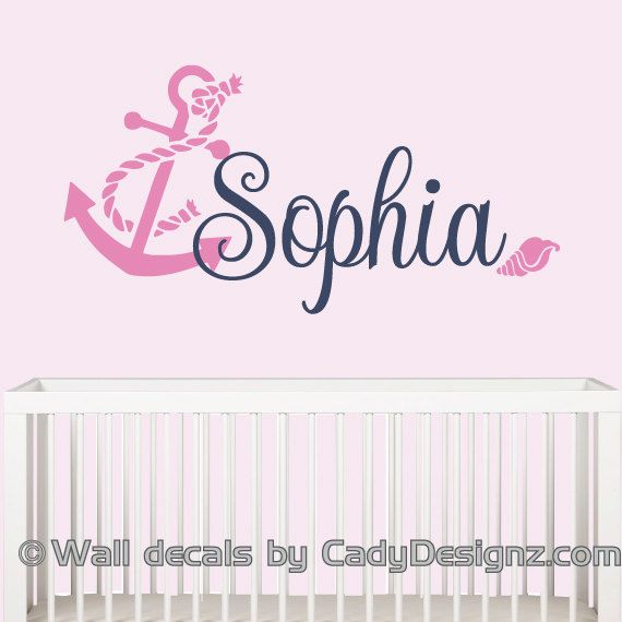 Anchor Wall Decal Girls Nautical Sailor Decor Nautical Vinyl Wall Decal Sailboat Baby Nursery Girls Room Personalized Name Wall Decals