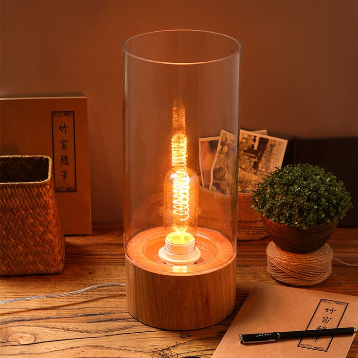 Simple Creative Study Transparent Glass Solid Wood Desk Lamp Decoration Edison Bulbs Reading Lamp