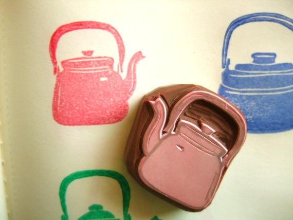 hand carved rubber stamp - handmade - KETTLE