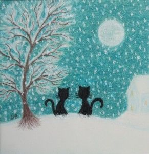"""Cats in the Snow"" (framed original painting by Claudine Peronne"