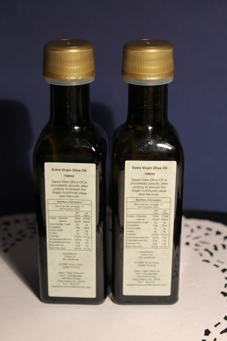 100ml Australian Dawn View Extra Virgin Olive Oil Bottle – with label – back view. Email for more information: dawnviewoliveoil@hotmail,com
