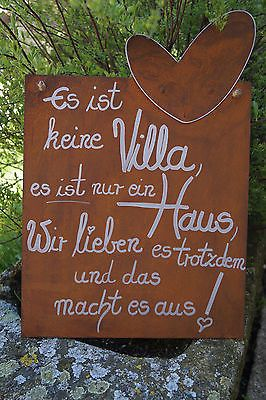 Edelrost Tafel mit Herz Es ist keine Villa…Spruch Garten Metall Schild Text – SANDRA GRUENER