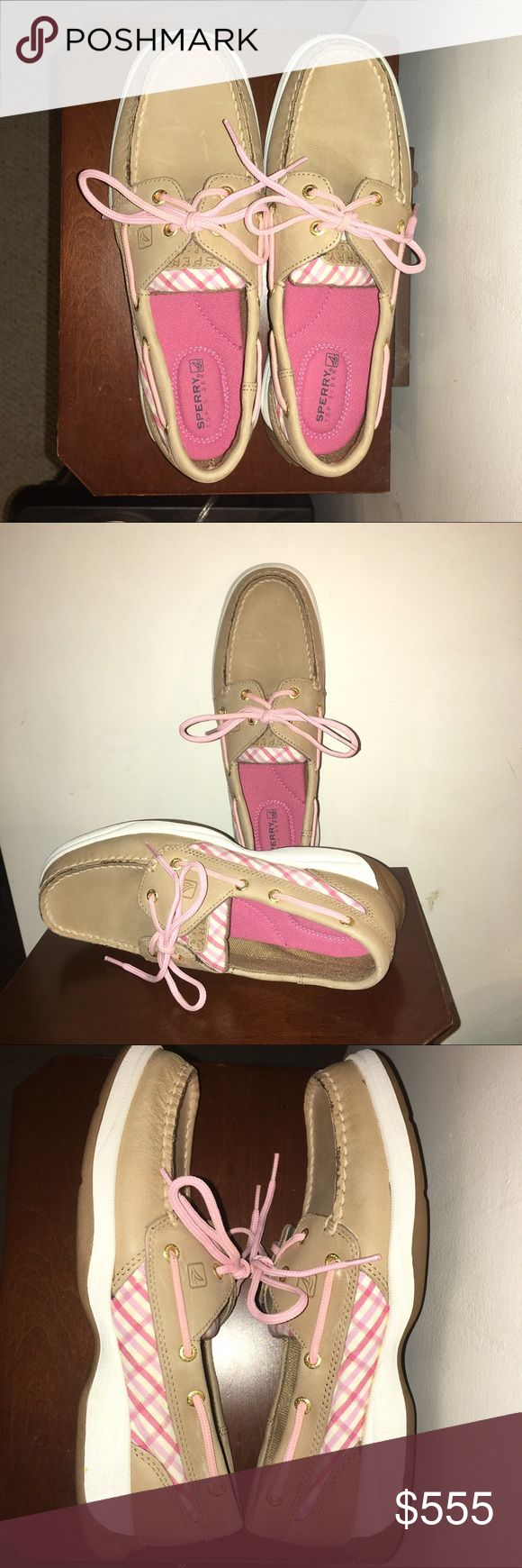 SALE 💝 SPERRYS 💝 Like New Light tan Sperrys with pink plaid accents on sides and tongue. Excellent like new condition. Pink footbed and pink shoestrings (not leather laces). Love them 💕 Just a little too short for me. Clean and smoke free. Bundle for additional discount. 🛍 Please, no lowballing. ⚠️ Sperry Top-Sider Shoes