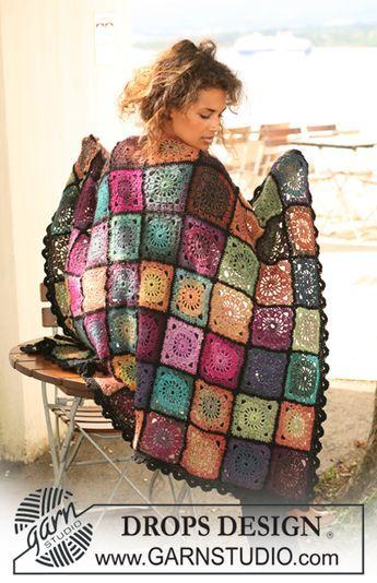 """Frazada DROPS en ganchillo / crochet en """"Delight"""" y """"Fabel"""". ~ DROPS Design"""