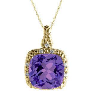 Cushion Cut Amethyst February Gemstone Yellow Gold Diamond Braided Pendant by gemologica on Etsy