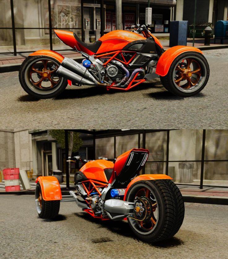 Custom Ducati Diavel, reverse trike.