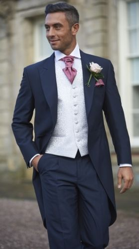 Our navy mohair tailcoat, Forton. #peterposh #wedding #groom #weddingsuits #bluesuit #bowtie #groomsmen