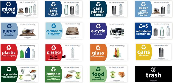 series of labels for recycling bins