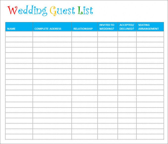 Wedding Checklist Printable Guest List wedding Pinterest