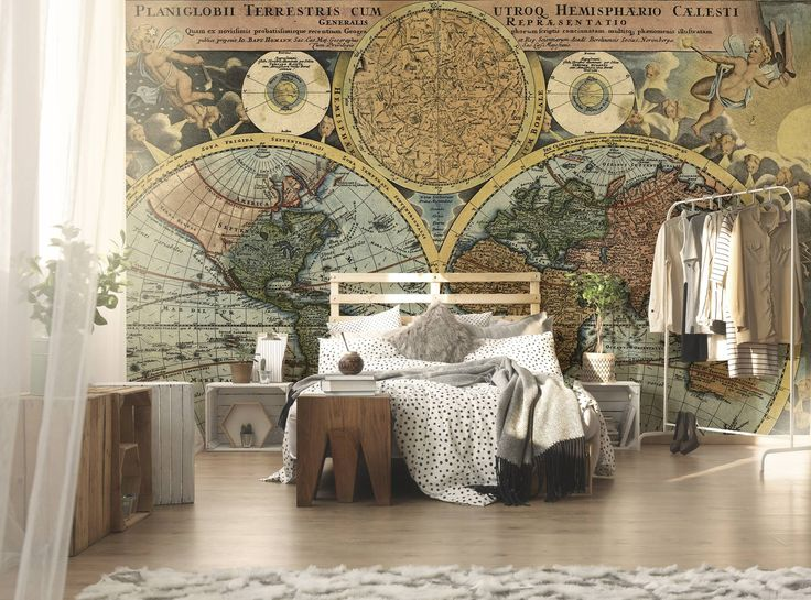 Old map of the world • Contemporary - Bedroom - Wall Murals - Maps and flags ✓ 365 Day Money Back Guarantee ✓ Consulting on the Pattern Selection ✓ 100% Safe✓ Set up online!