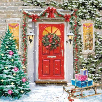 3694 Servilleta decorada Navidad