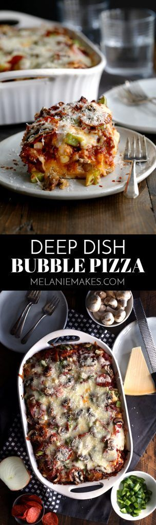 No yeast or rolling dough required - the no-fuss base of this Deep Dish Bubble Pizza comes from refrigerated biscuits! Topped with Italian sausage, pepperoni and vegetables (or your favorite toppings!) before being showered with cheese, this main dish is an absolute family favorite.