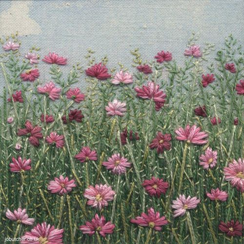 Google Image Result for http://flowerona.com/wp-content/uploads/2012/08/Jo-Butcher-cosmos.jpg. This piece is very busy and beautiful. The colours are very simple in this piece, however they compliment each other really well. It becomes an adventure within this piece because you want to explore through the field to find out more and see more. The flowers look very realistic and very fresh and bold.