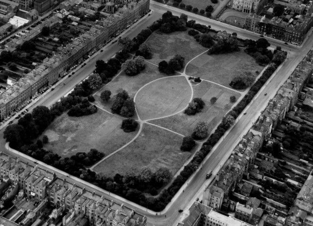 Merrion Square gardens, you couldn't get in back in the 60's as the Archdiocese of Dublin owned the land and wouldn't let people use it.