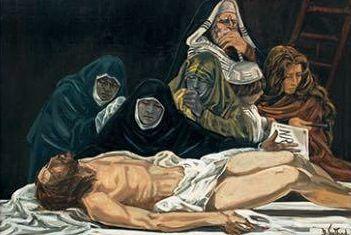 Dolores Puthod deposizione 2001 olio su tela cm. 150x100 collezione privata