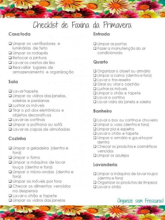 Organize sem Frescuras   Rafaela Oliveira » Arquivos » Checklist de faxina da Primavera