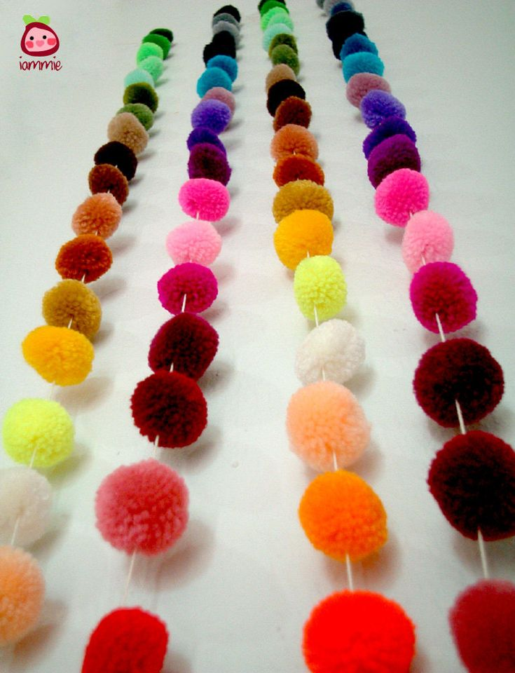 Pom Pom Garland, wholesale, yarn pom pom garland, party, wedding, colorful, rainbow, mobile, carnival, 3 yards, 9 feet, 10 strands. $120.00, via Etsy.