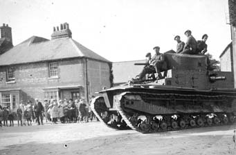 Alresford: a tank passing through the town on manoeuvres, 1925