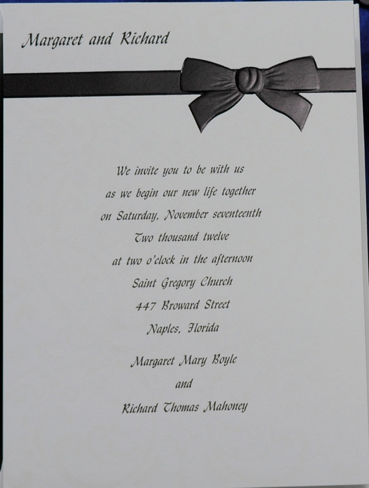 tie ribbon wedding invitation%0A This bright white card has a subtle background pattern  The lovely black  foil ribbon tied  Bow DrawingWedding InvitationsNamesRibbonMasquerade