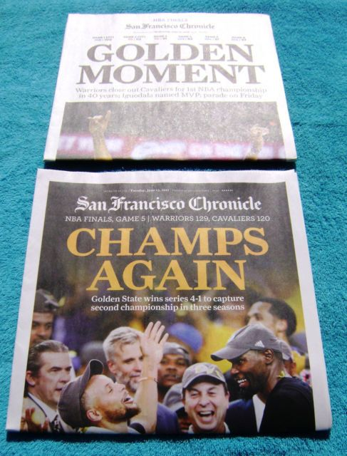 2015 & 2017 Golden State Warriors SF Chronicle Newspaper Finals Champions