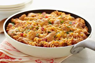 Fiesta Chicken & Pasta Skillet - @Kris Flinn I actually made this recently and will make again! quick, easy and yummy! definitely don't need the full recipe for just two people