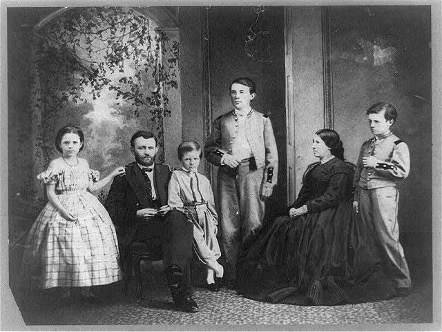 Photo of 18th President Ulysses S. Grant and 19th First Lady Julia Grant. They had four children: Frederick Dent Grant (1850-1912), Ulysses S. Grant, Jr. (1852-1929), Ellen Wrenshall (Nellie) Grant (1855-1922), and Jesse Root Grant (1858-1934).