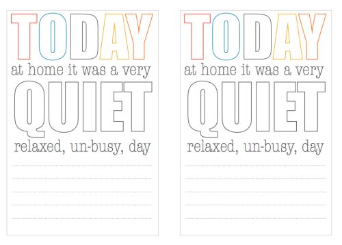 Today Was Quiet Printable Project Life Freebie Journaling Card